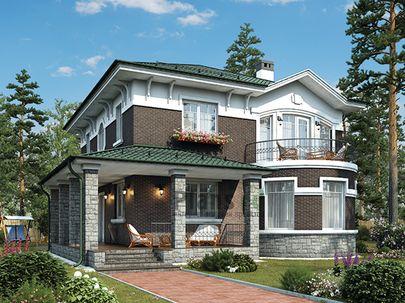 Проект двухэтажного дома 11x14 метров, общей площадью 200 м2, из кирпича, c террасой, котельной и кухней-столовой