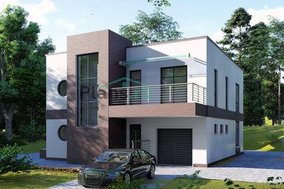 Проект двухэтажного дома 11x14 метров, общей площадью 211 м2, из кирпича, c гаражом, террасой, котельной и кухней-столовой
