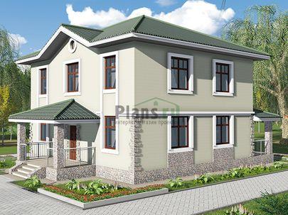 Проект двухэтажного дома 11x15 метров, общей площадью 170 м2, из газобетона (пеноблоков), c террасой, котельной и кухней-столовой