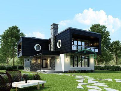 Проект двухэтажного дома 11x15 метров, общей площадью 196 м2, из кирпича, c террасой, котельной и кухней-столовой