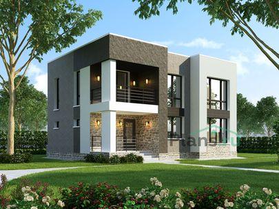 Проект двухэтажного дома 11x8 метров, общей площадью 136 м2, из газобетона (пеноблоков), c террасой, котельной и кухней-столовой