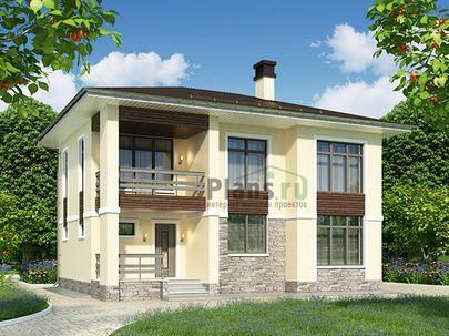 Проект двухэтажного дома 11x8 метров, общей площадью 136 м2, из керамических блоков, c террасой, котельной и кухней-столовой