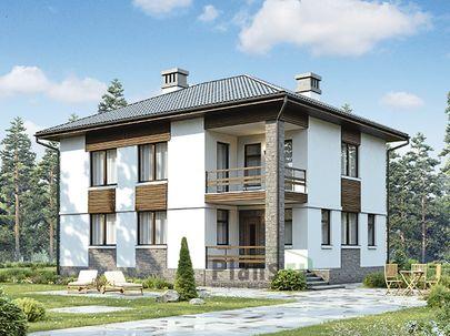 Проект двухэтажного дома 11x8 метров, общей площадью 164 м2, из кирпича, c террасой, котельной и кухней-столовой