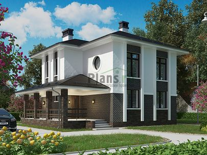 Проект двухэтажного дома 11x9 метров, общей площадью 125 м2, из керамических блоков, c террасой, котельной и кухней-столовой