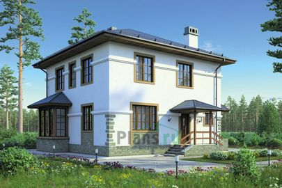 Проект двухэтажного дома 11x9 метров, общей площадью 147 м2, из газобетона (пеноблоков), c котельной и кухней-столовой