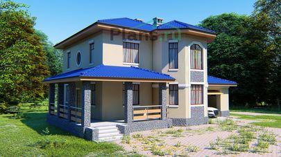 Проект двухэтажного дома 11x9 метров, общей площадью 161 м2, из газобетона (пеноблоков), c гаражом, террасой, котельной и кухней-столовой