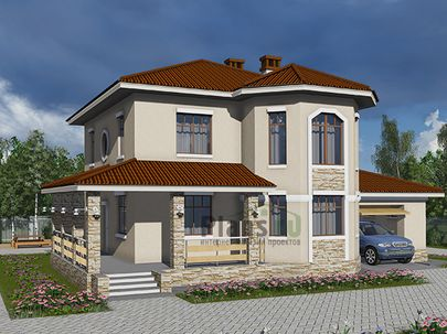 Проект двухэтажного дома 11x9 метров, общей площадью 161 м2, из керамических блоков, c гаражом, террасой, котельной и кухней-столовой
