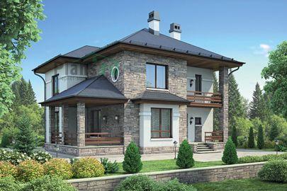 Проект двухэтажного дома 12x10 метров, общей площадью 136 м2, из газобетона (пеноблоков), c террасой, котельной и кухней-столовой