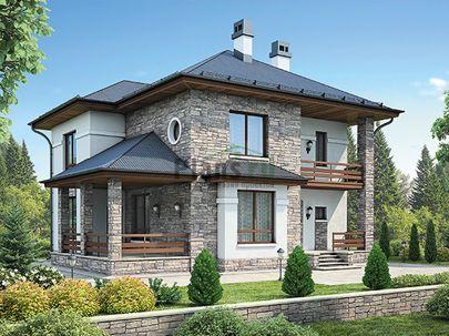 Проект двухэтажного дома 12x10 метров, общей площадью 136 м2, из керамических блоков, c террасой, котельной и кухней-столовой