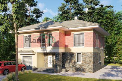 Проект двухэтажного дома 12x10 метров, общей площадью 174 м2, из газобетона (пеноблоков), c гаражом, террасой, котельной и кухней-столовой