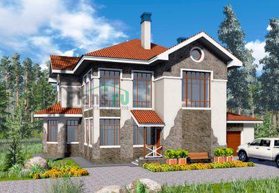 Проект двухэтажного дома 12x10 метров, общей площадью 191 м2, из газобетона (пеноблоков), со вторым светом, c гаражом, котельной и кухней-столовой
