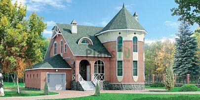 Проект двухэтажного дома 12x10 метров, общей площадью 202 м2, из газобетона (пеноблоков), c гаражом и террасой