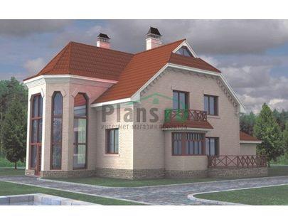 Проект двухэтажного дома 12x10 метров, общей площадью 225 м2, из газобетона (пеноблоков), со вторым светом, c зимним садом, террасой и котельной
