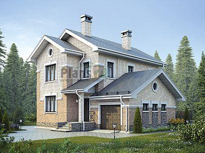 Проект двухэтажного дома 12x11 метров, общей площадью 130 м2, из керамических блоков, c гаражом, террасой, котельной и кухней-столовой