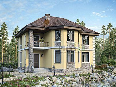 Проект двухэтажного дома 12x11 метров, общей площадью 163 м2, из керамических блоков, c террасой, котельной и кухней-столовой