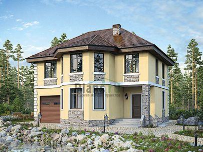 Проект двухэтажного дома 12x11 метров, общей площадью 166 м2, из газобетона (пеноблоков), c гаражом и кухней-столовой