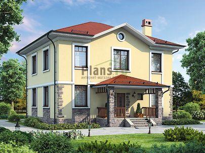 Проект двухэтажного дома 12x11 метров, общей площадью 172 м2, из керамических блоков, c террасой, котельной и кухней-столовой