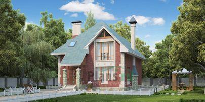 Проект двухэтажного дома 12x11 метров, общей площадью 172 м2, из кирпича, c террасой и кухней-столовой