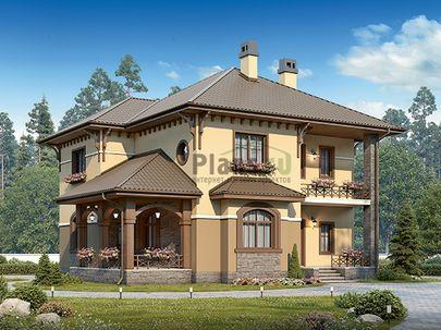 Проект двухэтажного дома 12x11 метров, общей площадью 181 м2, из газобетона (пеноблоков), c террасой, котельной и кухней-столовой