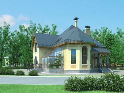 Проект двухэтажного дома 12x11 метров, общей площадью 183 м2, из керамических блоков, со вторым светом, c зимним садом и кухней-столовой