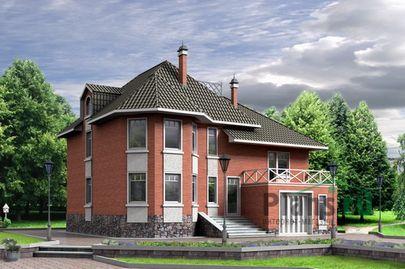 Проект двухэтажного дома 12x11 метров, общей площадью 202 м2, из газобетона (пеноблоков), c гаражом, террасой и котельной
