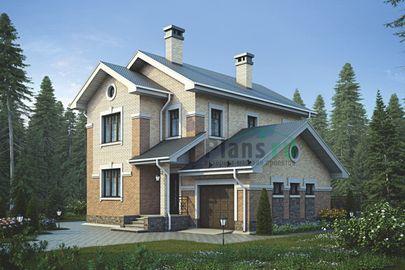 Проект двухэтажного дома 12x12 метров, общей площадью 129 м2, из газобетона (пеноблоков), c гаражом, террасой и котельной