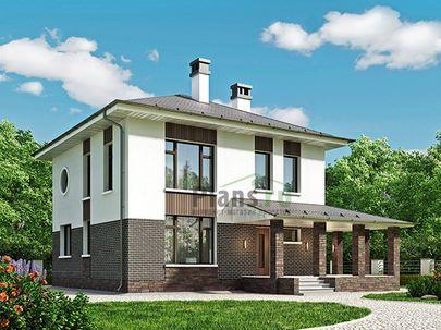 Проект двухэтажного дома 12x12 метров, общей площадью 142 м2, из керамических блоков, c террасой, котельной и кухней-столовой