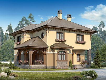 Проект двухэтажного дома 12x12 метров, общей площадью 154 м2, из керамических блоков, c террасой, котельной и кухней-столовой