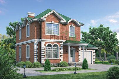 Проект двухэтажного дома 12x12 метров, общей площадью 158 м2, из газобетона (пеноблоков), c гаражом, котельной и кухней-столовой