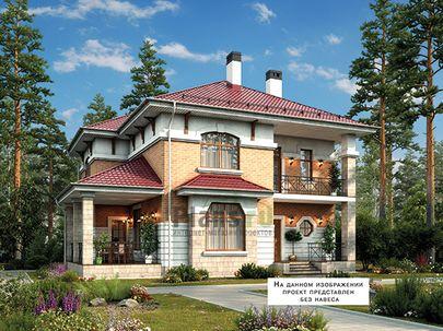 Проект двухэтажного дома 12x12 метров, общей площадью 163 м2, из газобетона (пеноблоков), со вторым светом, c террасой, котельной и кухней-столовой