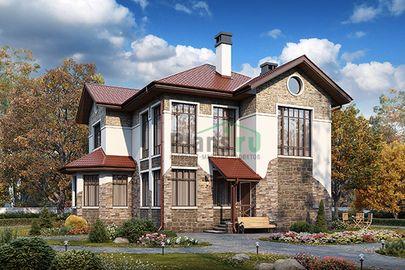Проект двухэтажного дома 12x12 метров, общей площадью 164 м2, из газобетона (пеноблоков), со вторым светом, c котельной и кухней-столовой