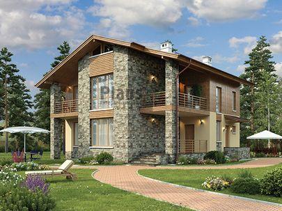 Проект двухэтажного дома 12x12 метров, общей площадью 164 м2, из керамических блоков, c террасой, котельной и кухней-столовой