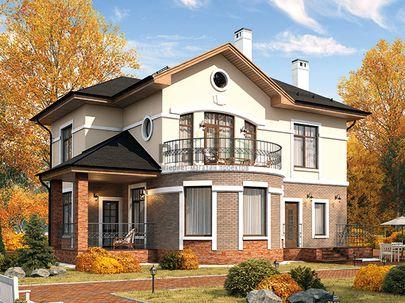Проект двухэтажного дома 12x12 метров, общей площадью 168 м2, из газобетона (пеноблоков), c террасой, котельной и кухней-столовой