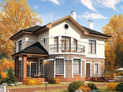 Проект двухэтажного дома 12x12 метров, общей площадью 168 м2, из кирпича, c террасой, котельной и кухней-столовой