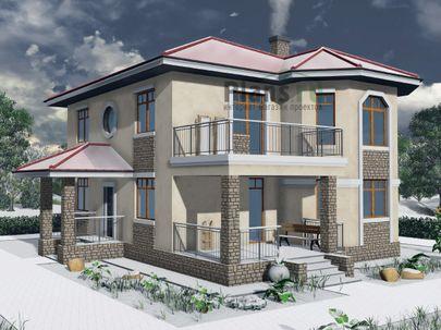 Проект двухэтажного дома 12x12 метров, общей площадью 170 м2, из газобетона (пеноблоков), c террасой, котельной и кухней-столовой