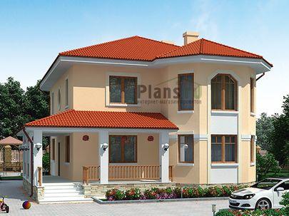 Проект двухэтажного дома 12x12 метров, общей площадью 170 м2, из газобетона (пеноблоков), со вторым светом, c террасой, котельной и кухней-столовой