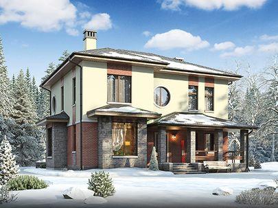 Проект двухэтажного дома 12x12 метров, общей площадью 172 м2, из газобетона (пеноблоков), c террасой, котельной и кухней-столовой