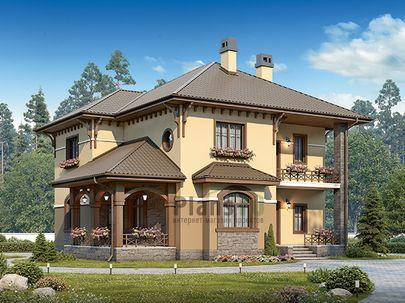 Проект двухэтажного дома 12x12 метров, общей площадью 172 м2, из кирпича, c террасой, котельной и кухней-столовой