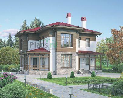Проект двухэтажного дома 12x12 метров, общей площадью 173 м2, из газобетона (пеноблоков), c террасой, котельной и кухней-столовой