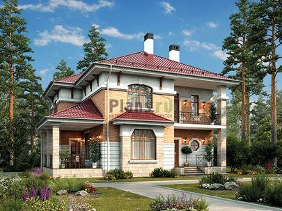 Проект двухэтажного дома 12x12 метров, общей площадью 174 м2, из керамических блоков, c террасой, котельной и кухней-столовой