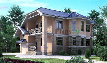 Проект двухэтажного дома 12x12 метров, общей площадью 175 м2, из кирпича, c гаражом, террасой, котельной и кухней-столовой