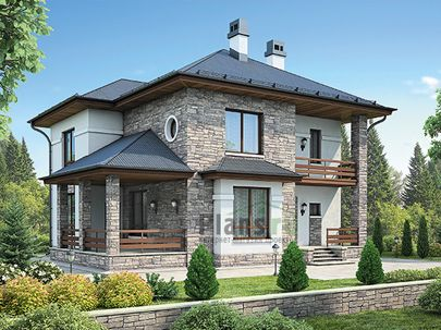 Проект двухэтажного дома 12x12 метров, общей площадью 177 м2, из кирпича, c террасой, котельной и кухней-столовой