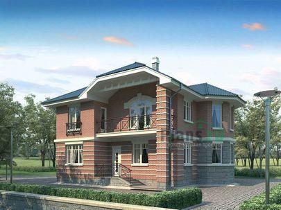 Проект двухэтажного дома 12x12 метров, общей площадью 178 м2, из кирпича, c котельной и кухней-столовой