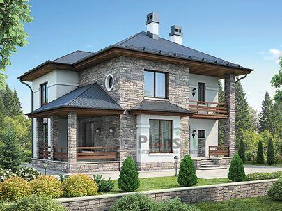Проект двухэтажного дома 12x12 метров, общей площадью 180 м2, из керамических блоков, c террасой, котельной и кухней-столовой