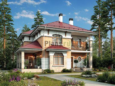 Проект двухэтажного дома 12x12 метров, общей площадью 182 м2, из керамических блоков, c террасой, котельной и кухней-столовой