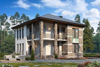 Проект двухэтажного дома 12x12 метров, общей площадью 183 м2, из газобетона (пеноблоков), c террасой и котельной