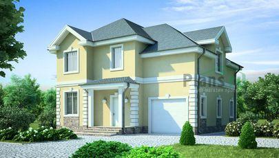 Проект двухэтажного дома 12x12 метров, общей площадью 186 м2, из газобетона (пеноблоков), c гаражом, котельной и кухней-столовой