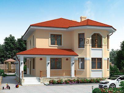 Проект двухэтажного дома 12x12 метров, общей площадью 194 м2, из кирпича, c гаражом, террасой, котельной и кухней-столовой