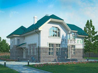 Проект двухэтажного дома 12x12 метров, общей площадью 195 м2, из кирпича, c котельной и кухней-столовой