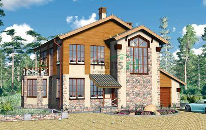 Проект двухэтажного дома 12x12 метров, общей площадью 208 м2, из газобетона (пеноблоков), c гаражом, котельной, лоджией и кухней-столовой